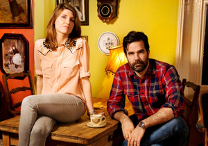 Mark Horgan's sister Sharon with Catastrophe co-star Rob Delaney. Photo: Linda Nylind