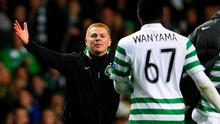 Celtic manager Neil Lennon goes to celebrate victory over Barcelona with Victor Wanyama back in 2012. Photo: Reuters
