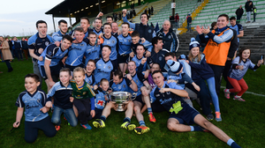 Simonstown celebrate their first Meath senior football championship title in 2016, a moment that illustrates the emotional power of a local win. Photo: Seb Daly/Sportsfile