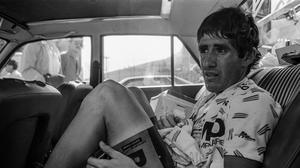 Paul Kimmage after a mountain stage of the 1986 Tour De France. Photo: Billy Stickland
