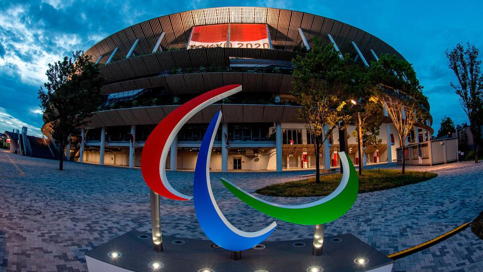 The scene outside the Olympic Stadium in Tokyo as the city prepares for the start of the 2020 Paralympic Games