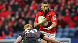 Simon Zebo, right, scored one of Munster's six tries against Connacht