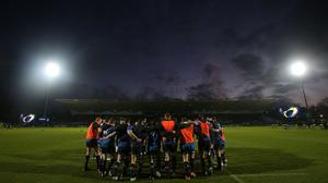 Leinster huddle before their Champions Cup Pool Two match with Castres at the RDS Arena