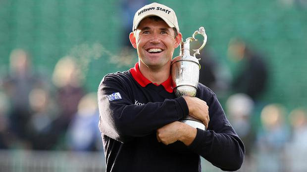 Padraig Harrington celebrates with the Claret Jug after winning the 136th Open Championships at Carnoustie (Martin Rickett/PA)