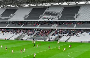 A general view of match action and supporters during the Allianz Football League Division 3 Round 3 match between Cork and Down at Páirc Uí Chaoimh in Cork recently. Photo: Piaras Ó Mídheach/Sportsfile