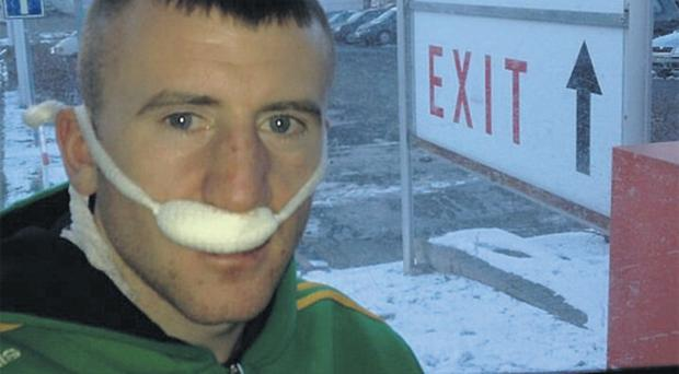 A picture posted on Twitter yesterday by Paddy Barnes after a nose injury forced him to retire during the third round of his Grand Prix fight in the Czech Republic