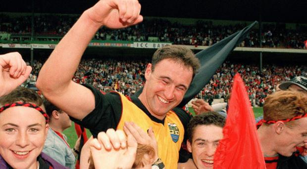 14 August 1994; Down's Conor Deegan celebrates with supporters after the game. Bank of Ireland Football Championship Semi-Final, Down v Cork, Croke Park, Dublin. Picture credit: David Maher / SPORTSFILE