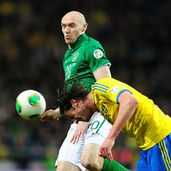 Conor Sammon, top, made his first competitive start for Ireland against Austria