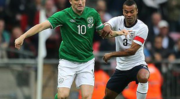 Robbie Keane, left, is set to become Ireland's most capped player on Friday