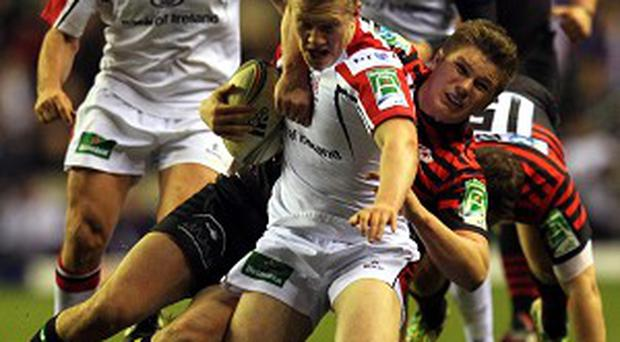 Stuart Olding, centre, gets his chance against the United States Eagles