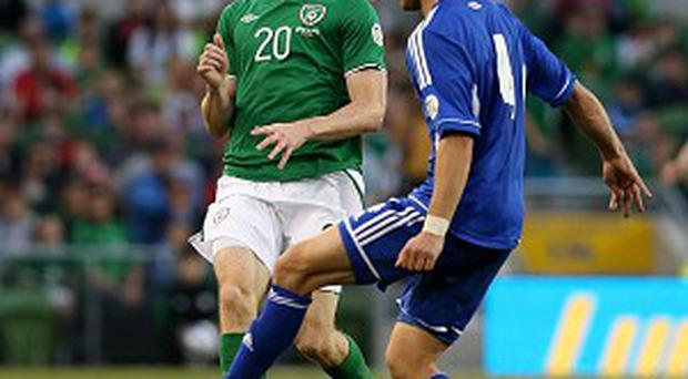 Conor Sammon, left, came off the bench against the Faroe Islands