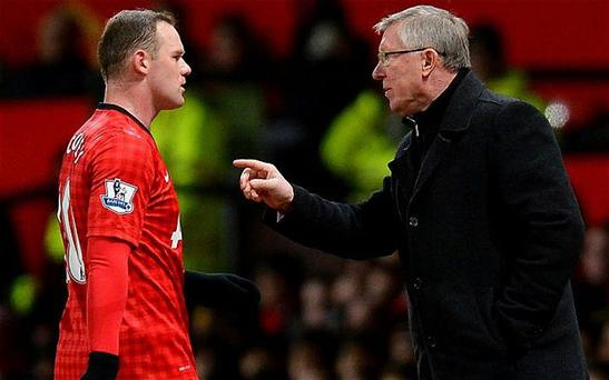 Sir Alex Ferguson pictured with Wayne Rooney prior to his retirement
