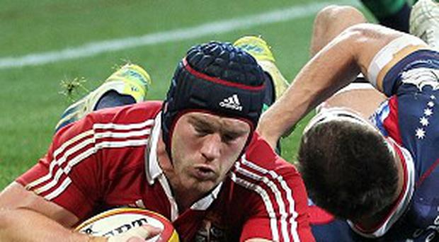 Sean O'Brien, left, scored one of the Lions' five tries