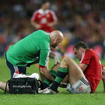 Jamie Roberts, right, has been struggling with a knee injury