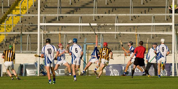 Kilkenny's Richie Power fires the sliotar past Waterford goalkeeper Stephen O'Keeffe from the penalty spot. The ball rebounded into play before the referee James Owens ruled that it had crossed the line and awarded the goal