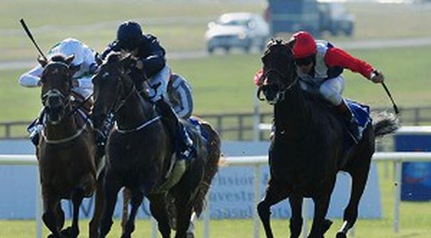 Chicquita (right) on her way to winning the Darley Irish Oaks at the Curragh this year