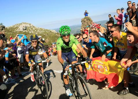 Movistar rider Alejandro Valverde of Spain leads Nicolas Roche up the final climb during the 18th stage of the Vuelta a Espana yesterday