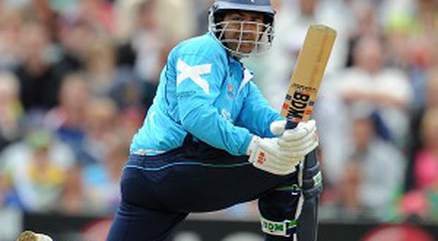 Max Sorensen claimed the wicket of Majid Haq, pictured, to put Scotland out of their misery