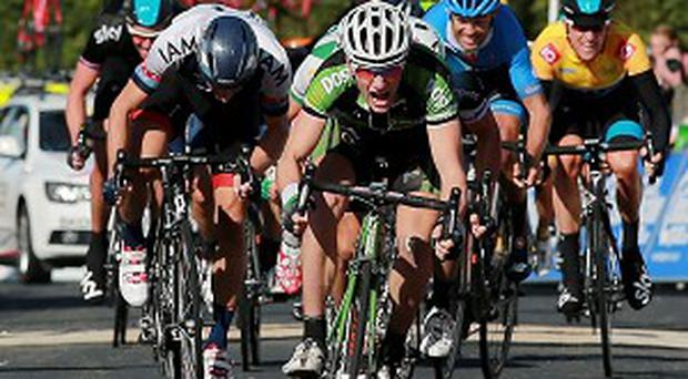 Sam Bennett, centre, secured his first career stage victory