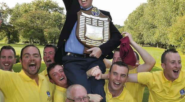 Spanish Point enjoy the celebrations after victory in the Pierce Purcell Shield final