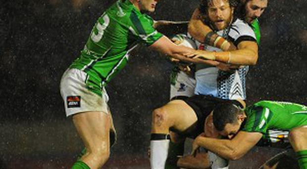 Ben Currie (left) in action against Fiji. He is set for a new role against England