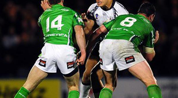 Brett White, right, was singled out for his part in the Wolfhounds' opening 32-14 defeat by Fiji