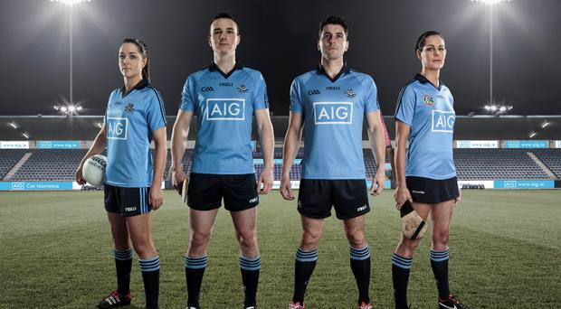 Dublin players Sinéad Goldrick, Liam Rushe, Bernard Brogan and Louise O'Hara in the new jersey