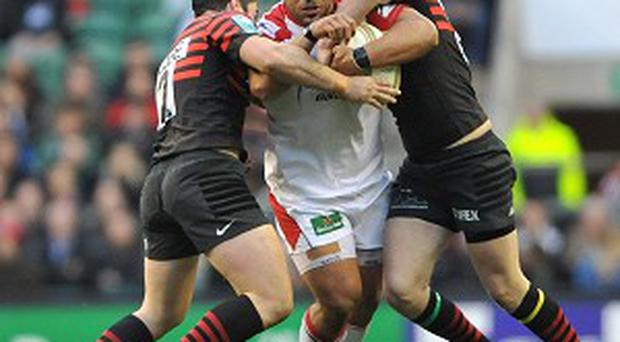 Ulster's John Afoa, centre, will join Gloucester at the end of the season.