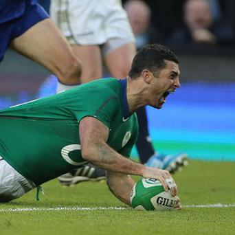 Rob Kearney, right, was among the scorers as Ireland defeated Scotland 28-6 in Dublin