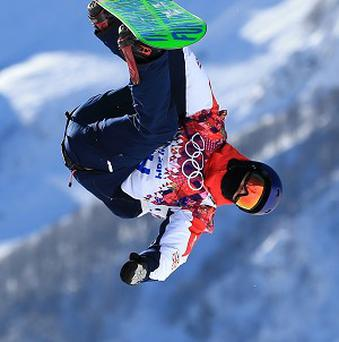 Great Britain's Billy Morgan during snowboard slopestyle practice in Sochi