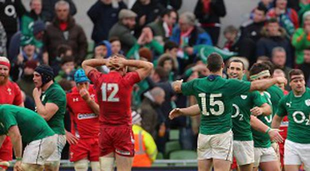 Ireland celebrate beating Wales during the RBS 6 Nations match.