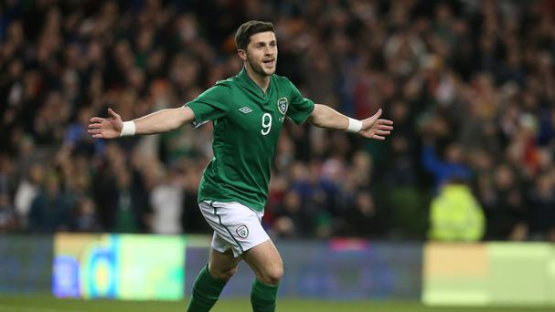 Shane Long celebrates Ireland's goal
