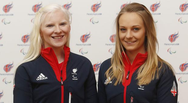 Kelly Gallagher, back, and guide Charlotte Evans, front, won Great Britain's first ever gold medal at the Winter Paralympics