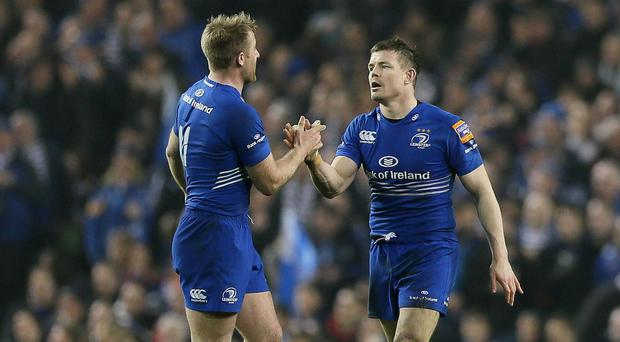 Brian O'Driscoll, right, is congratulated by team-mate Luke Fitzgerald after scoring a try