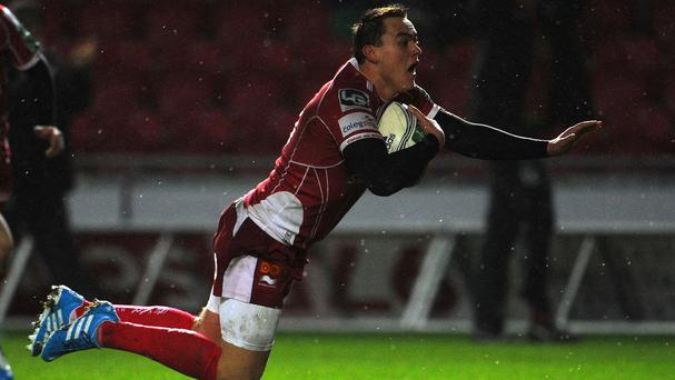 Gareth Maule claimed a bonus-point try a minute from time for Scarlets