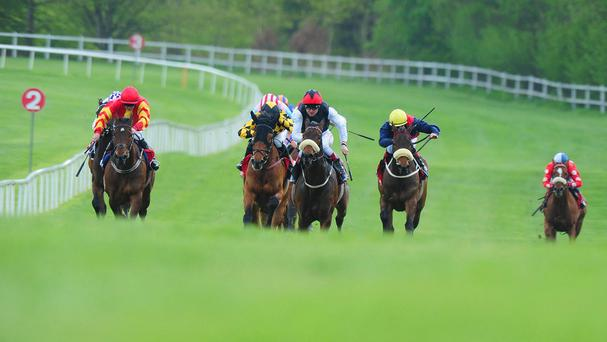 I'm Yours (centre, white sleeves) gallops up the straight to win the Irish Stallion Farms European Breeders Fund Victor McCalmont Memorial Stakes