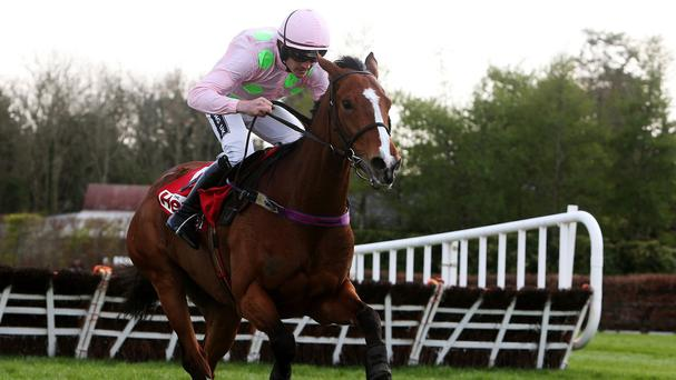 Faugheen on the way to winning the Herald Champion Novice Hurdle