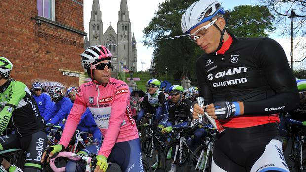 Marcek Kittel, right, won stage three of the Giro d'Italia as Michael Matthews retained the lead (AP)