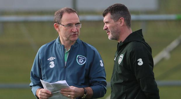 Ireland manager Martin O'Neill is assisted by Celtic target Roy Keane