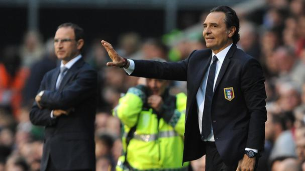 Cesare Prandelli, right, saw his side draw with Martin O'Neill's Ireland
