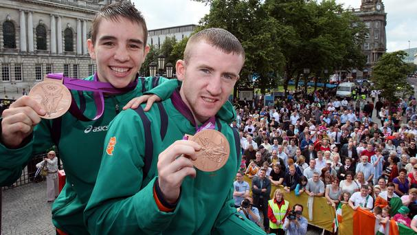 Michael Conlan, left, and Paddy Barnes with their bronze medals from the London Olympics