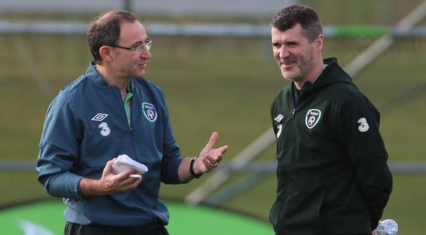 Martin O'Neill, left, wants speculation linking his assistant Roy Keane with Aston Villa resolved in the next few weeks