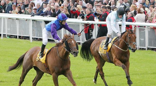 Bold Thady Quill (left) winning at the Curragh in 2012