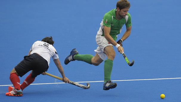 Ronan Gormley, right, scored in Ireland's defeat to England