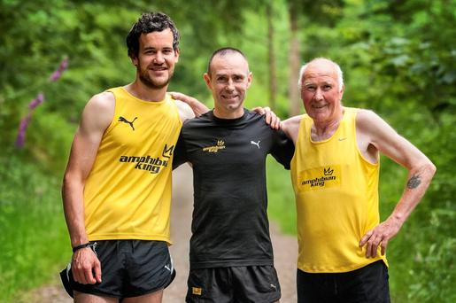 Gary O'Hanlon (centre) with runners Anthony Flannery (left) and Stephen O'Hanlon