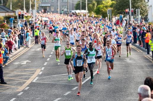 Martin Fagan (winner) leads out the field of close to 3,000 in the Kearney Cycles Streets of Galway 8k. Photo: Donal Glackin