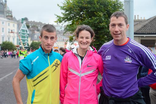 Robert Heffernan, Robert Heffernan and David Matthews at the Sonia O'Sullivan 3k Celebration Run in Cobh