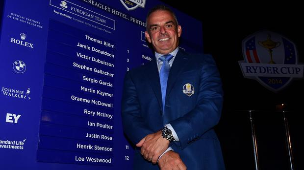 Paul McGinley, pictured, has named Lee Westwood, Ian Poulter and Stephen Gallacher as his three wild cards