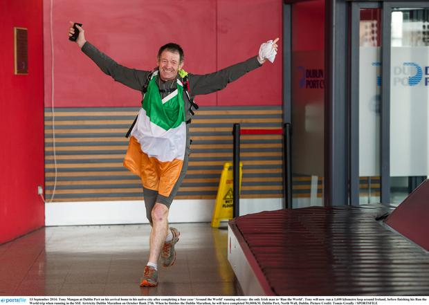 Home is the Hero- Tony Mangan returns home to Dublin after his Jog the World Odyssey. Photo: Tomas Greally- sportsfile.com