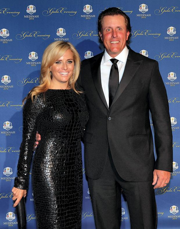 Phil Mickelson of the USA and his wife Amy Mickelson.